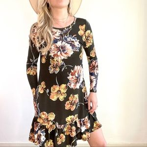 Annabelle Brown Yellow Floral Long Sleeve Dress S